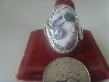 Sacred Buffalo White Turquoise Ring From Dry Creek Mine Sterling .925 Effie C.