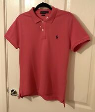 RALPH LAUREN POLO SHIRT SKINNY FIT PINK LARGE NEW WITH TAGS