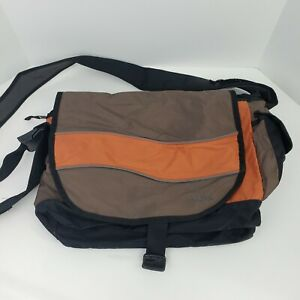LL Bean Messenger Bag Brown Orange Nylon Work School Laptop