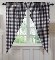 ANNIE BUFFALO BLACK CHECK Prairie Curtain Set Farmhouse Cotton Primitive VHC