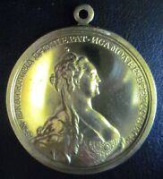 """RAREST """"Gold"""" Medal Russian Empire 1788,Ekaterina (Catherine) Great,See Descrip"""