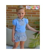 PDF FILE SEWING PATTERN Blouse w Bib+Bloomers 2 pieces Baby Infant Children Boys