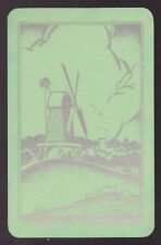 1 Single VINTAGE Swap/Playing Card DUTCH WINDMILL & SHEEP Green/Silver