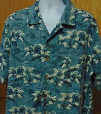 Trader Bay Men's Floral over Nautical Map Hawaiian Shirt X-large