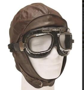 New  Flying Hat, Biggles Style Dark Brown Leather Classic Flying Helmet,