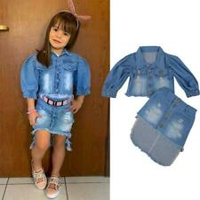 1-6 Y Kids Baby Girls Clothes Blue Puff Sleeve Open Front Denim Jacket + Skirt