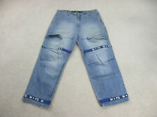 VINTAGE Girbaud Pants Mens 44 Blue Spell Out Baggy Cash Money Hip Hop 90s A30*