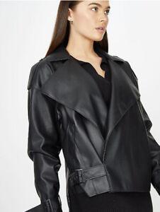G21 Bnwt Black Oversized Slouchy Biker Jacket Size L 18/20/22
