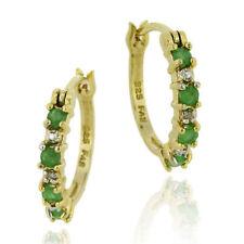 Emerald Hoop Fine Earrings