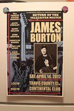 JAMES BURTON Austin TX 2012 CONCERT POSTER elvis presley emmylou harris RNRHOF