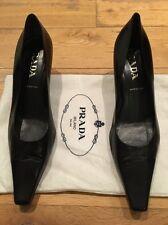 Prada Black Leather Heels Shoes EU 39 UK 6 7 US 8.5 9 New NWOB