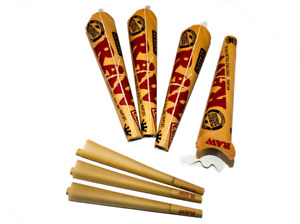 4 RAW King Size Papers Pre Rolled Paper Cone Classic 110mm 3 Per Pack Easy Roll