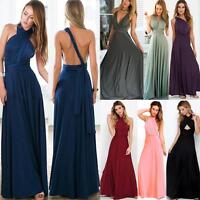 Convertible Multi Way Womens Bridesmaid Full Wrap Cocktail Party Maxi Long Dress