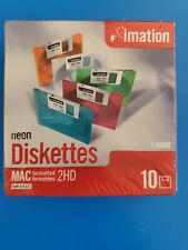 Imation Diskettes MAC 2HD 3.5 1.40MB Neon Floppy Disks Sealed 10 Pack New