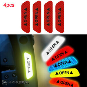 4pcs Safety Reflective Tape Open Sign Warning Mark Car Door Stickers Red