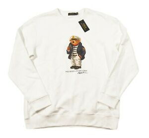 Special! Polo Ralph Lauren Men's White Captain Polo Bear Fleece Sweatshirt