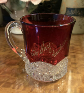 Antique 1912 Ruby Stain Glass Exhibition Souvenir Cup Mug Dorothy Exhibition