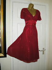 10 DEEP RED CHIFFON EMBELLISHED MIDI DRESS + SLIP BEAD SEQUIN CRUISE PARTY