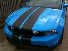 """MATT BLACK Twin Body Stripes Viper Style 4m(13')x15cm(6"""") fits TOYOTA"""