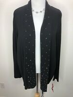 NWT Ruby Rd. 3X Soft Stretchy Black Embellished Open Front Cardigan Sweater