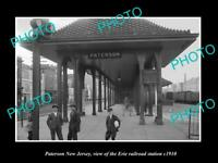 OLD LARGE HISTORIC PHOTO OF PATERSON NEW JERSEY, ERIE RAILROAD STATION c1910 1