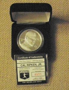 CAL RIPKEN BALTIMORE ORIOLES .999 FINE SILVER ROUND HIGHLAND MINT COIN 1 / 5000