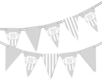 Happy 75th Birthday Polka Dot Vintage Silver Pattern Bunting Banner 12 flags