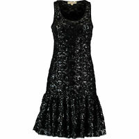MICHAEL KORS Women's Lace Sequin Mesh Dress, Black, size SMALL