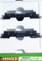 2 Flachwagen beladen m Mannesmann Stahlröhren DB ARNOLD HN6027 N 1:160 OVP  å *
