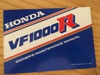 Honda VF1000R VFR 1000 manuel propriétaire édition 1985 owner's maintenance rare