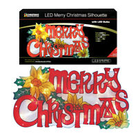 24 x 45cm Bright LED Merry Christmas Silhouette Indoor Festive Decoration