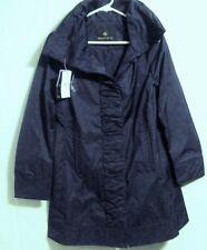 NWT RAINFOREST Womens Ruched Front Rain Jacket/Coat W/Hidden Hood Cobalt Blue S