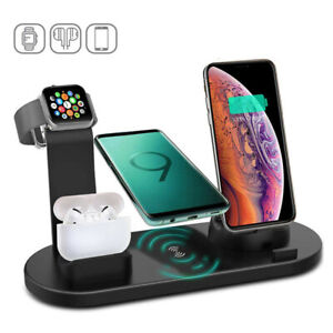 Qi Wireless Charger 4 in1 Charging Dock Station for AirPods Apple iWatch iPhone