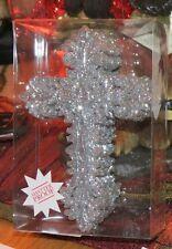 HOBBY LOBBY VALUE PACK SILVER GLITTER SHATTER PROOF CROSS CHRISTMAS ORNAMENT