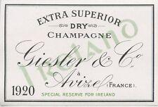 ETIQUETTE DE CHAMPAGNE / EXTRA SUPERIOR DRY CHAMPAGNE GIESLER & Co. AVIZE 1920