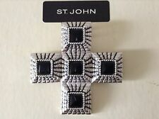 St John Collection.Cross.Pin Or Pendant.Black/Silver Tone.Large