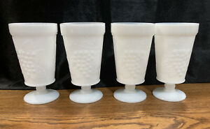 SET OF 4, Vintage White MILK GLASS Footed Goblets,  Leaves And Grape Pattern