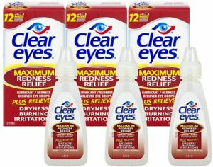 Clear Eyes, (Maximum Redness Relief) Eye Drops, 0.5 Fl Oz (15 mL) (Pack of 3)