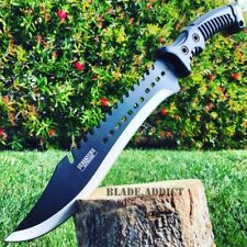 "15.5"" HUNTING SURVIVAL FIXED BLADE MACHETE Tactical Rambo Knife Sword Camping BK"