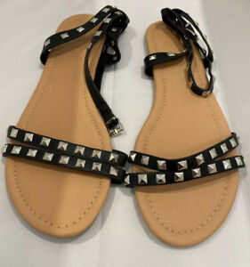 Black Studded Cute Flats Wide E Fit, Size 10 (UK8) NWT New with Tags