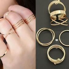 6pcs Fashion Adjustable Jewelry Punk Mid Knuckle Rings Set Stack Above Band Gold