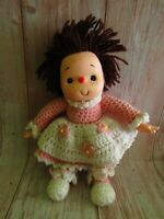 Vintage 80's Ice Cream Baby Doll Hand Crochet Dress Brown Yarn Hair 13""