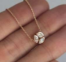 9K Yellow Gold Over 0.25 Ct Marquise Cut Diamond Three Stone Pendant Free Chain