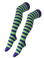 Ladies Funky Purple Green Stripe Teens Over Knee Fashion Teen Sock Stocking Girl