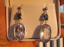 New Estate IF Huge 50.83 ct Natural Kunzite Diamond Sapphire14k Gold earrings
