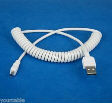 Coiled Micro USB cable WHITE for Sony ebook Reader PRS-T3 PRS-T2 PRS-T1 PRS-950