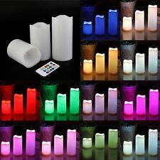 "3pc LED Flameless Candles 4"" 5"" 6"" Pillar 12 Color Changing w/ Remote No Flame"