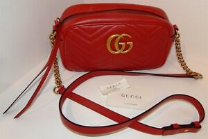 """""""GUCCI"""" - MARMONT MATELASSE - SMALL CROSS BODY / SHOULDER BAG IN RED"""