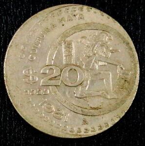 Mexico Off Center Error and Mint Die Crack 1981 20 Pesos