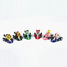 Super Mario Kart Luigi Four Wheels Pull Back Car Action Figure Toy Kid Gift 6PCS